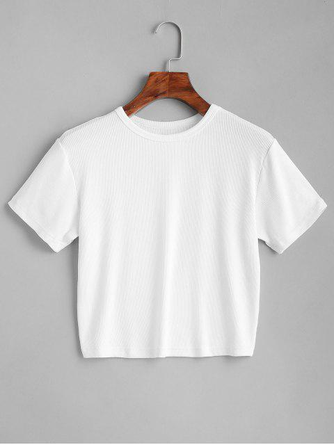 online ZAFUL Plain Cropped Tee - WHITE M Mobile