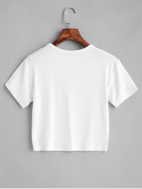 ZAFUL T-shirt Court Simple - Blanc S Mobile