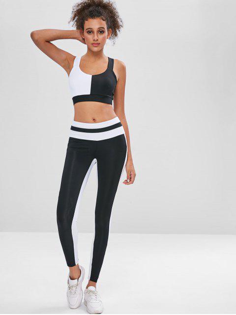 Zweifarbiger Sport-BH und Leggings Sweat Suit - Schwarz M Mobile