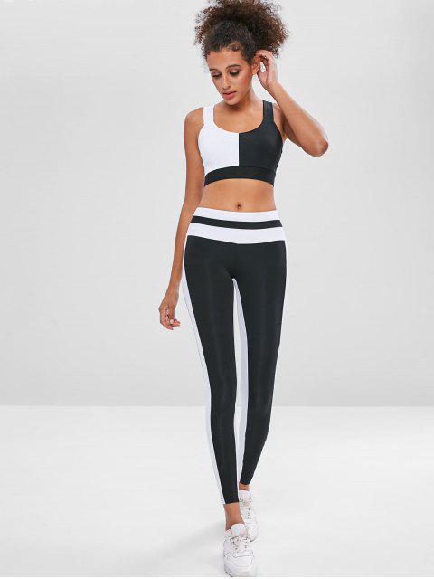 Zweifarbiger Sport-BH und Leggings Sweat Suit - Schwarz L Mobile