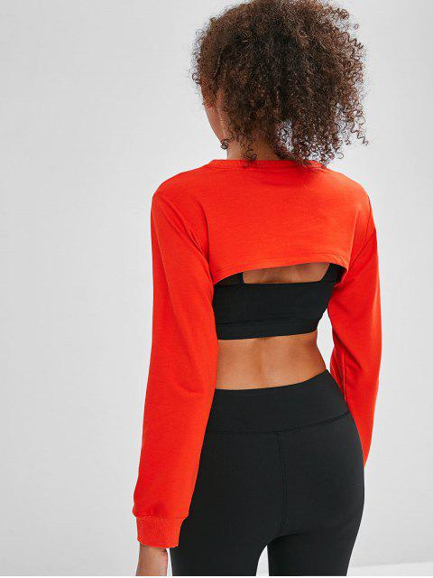 ZAFUL Open Busto Cropped Sweatshirt - Naranja Brillante S Mobile