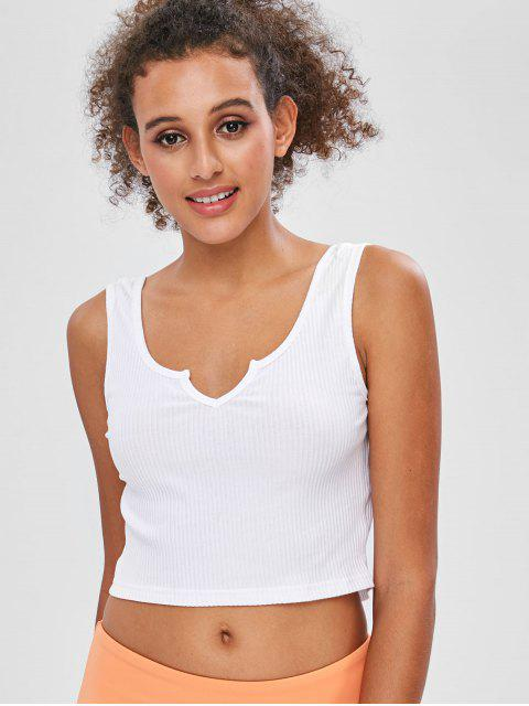 shop Ribbed Scoop Crop Tank Top - WHITE M Mobile