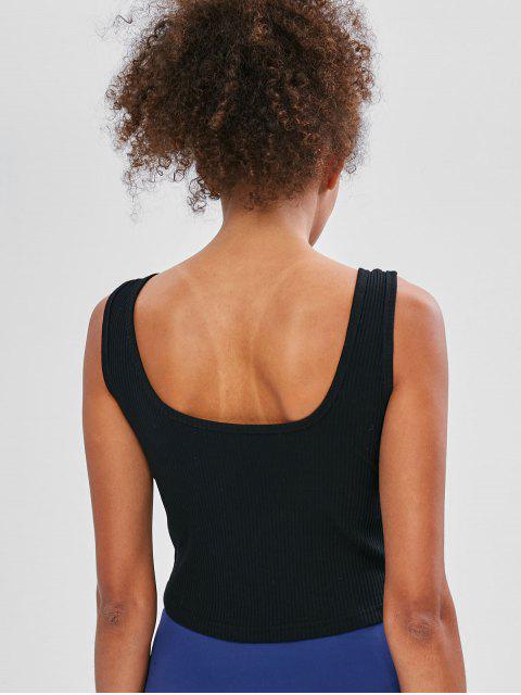 Camiseta sin mangas con canalé - Negro M Mobile