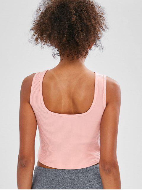 unique Ribbed Scoop Crop Tank Top - LIGHT PINK M Mobile