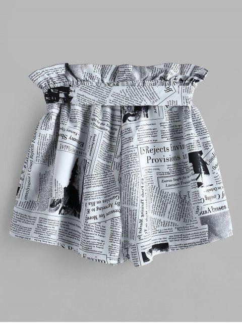 shops ZAFUL Newspaper Print Belted Loose Shorts - WHITE S Mobile