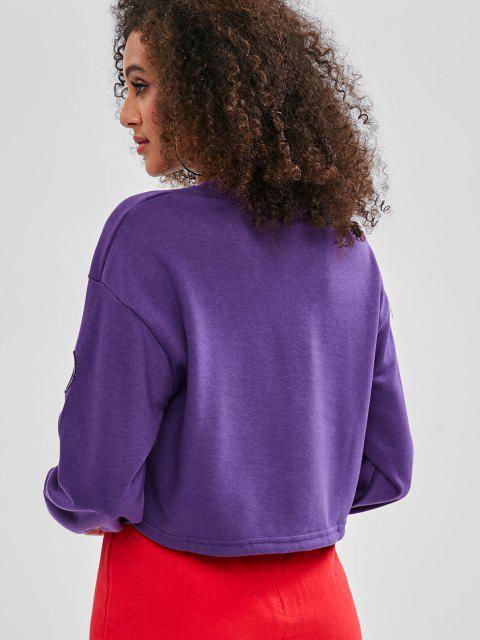fancy Letter Hollow Out Crop Sweatshirt - PURPLE M Mobile