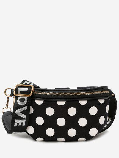 Polka Dot Wide Strap Crossbody Bag - Black