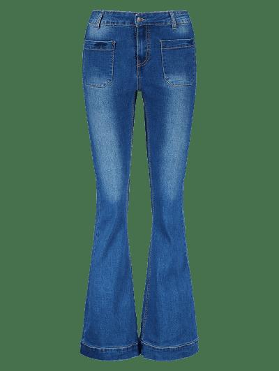 Mid Waist Pockets Bootcut Jeans
