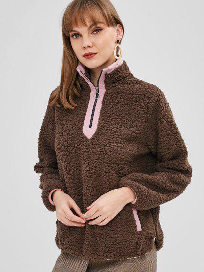 Half Zip Pockets Faux Fur Sweatshirt - Dark Khaki M