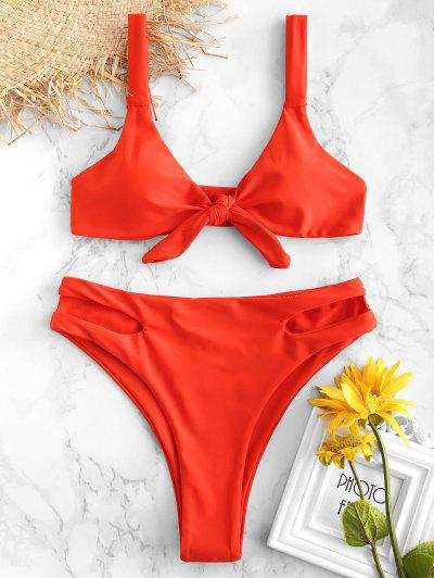zaful ZAFUL Knotted Cut Out High Leg Bikini Set