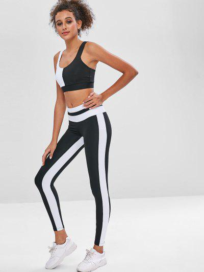 625385a8b7 Two Tone Sports Bra And Leggings Sweat Suit - Black L