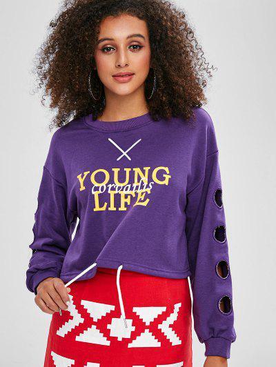 편지 중공 자르기 스웨터 셔츠 - 보라색 미디엄