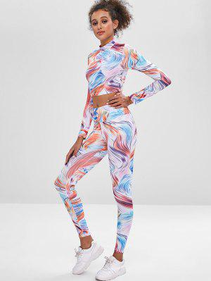zaful Printed Crop Sports Top and Leggings Sweat Suit