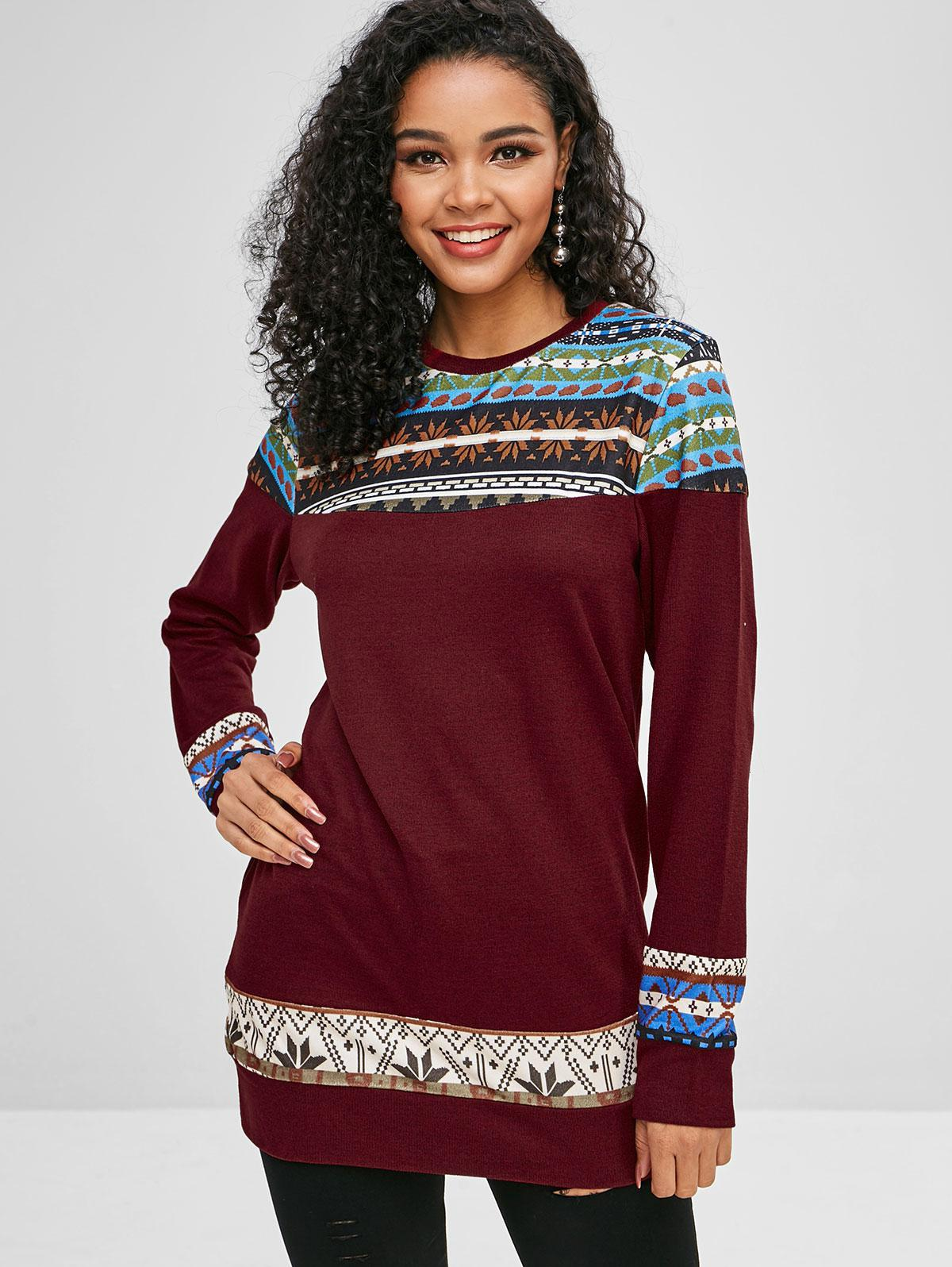 Graphic Loose Longline Sweater