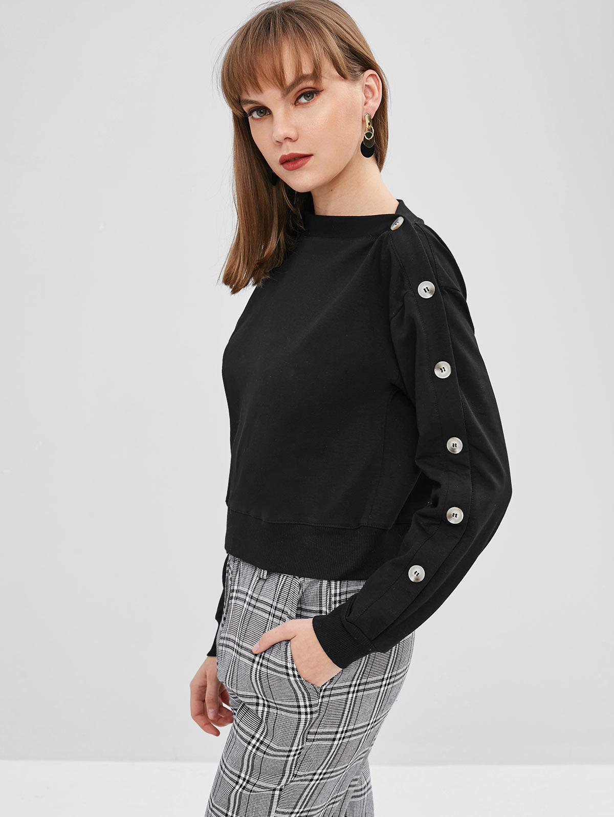 Contrasting Buttons Asymmetrical Neck Sweatshirt