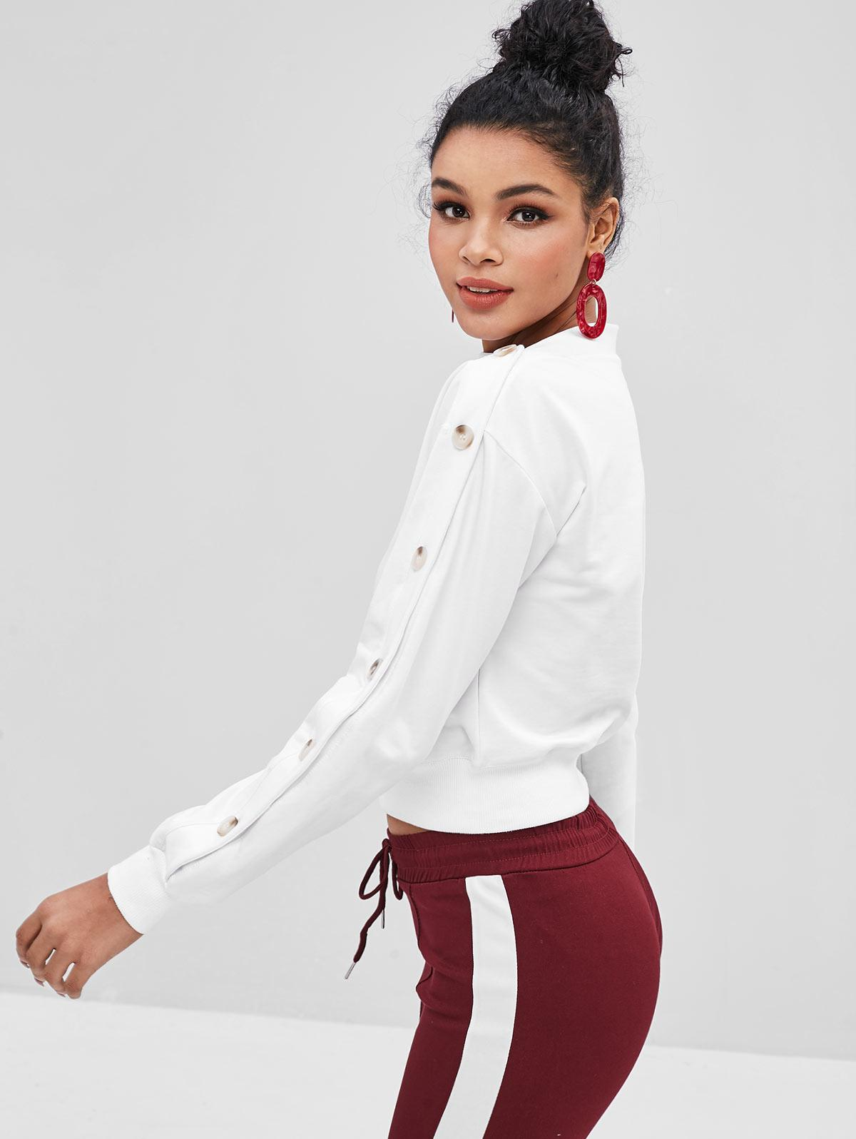 Contrasting Buttons Asymmetrical Neck Sweatshirt thumbnail