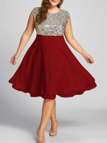 فستان السهرة الحجم الكبير  - أحمر 5xl