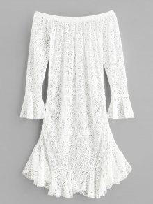 قبالة الكتف زهرة الكروشيه حورية البحر اللباس - أبيض