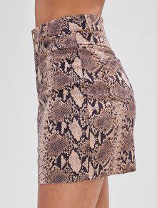 تنورة من جلد الغزال بنمط جلد الثعبان - متعدد L