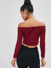 6c079f44c72d6 36% OFF  2019 Ribbed Off The Shoulder Top In RED WINE