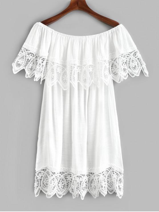 Robe cache-coeur en crochet avec rabat sur l'épaule - Blanc Taille Unique