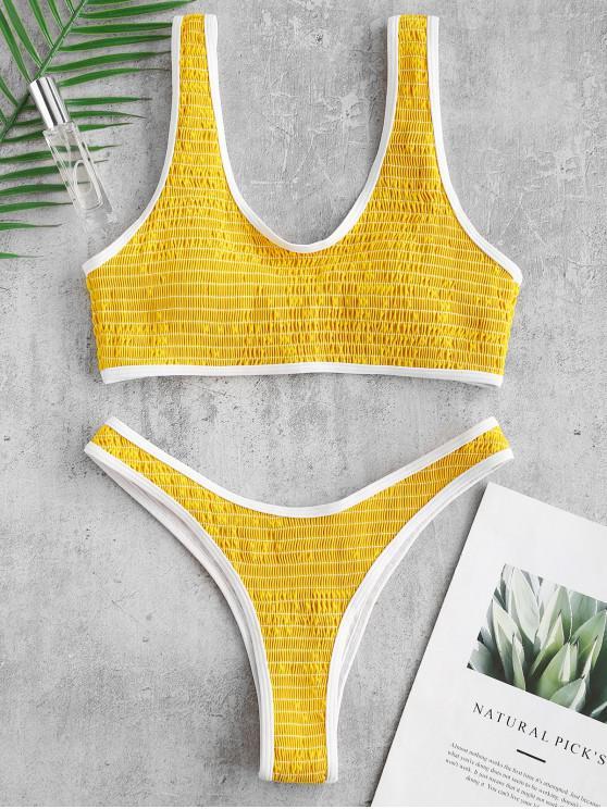 latest ZAFUL Smocked Contrast Piping Bikini Set - YELLOW L