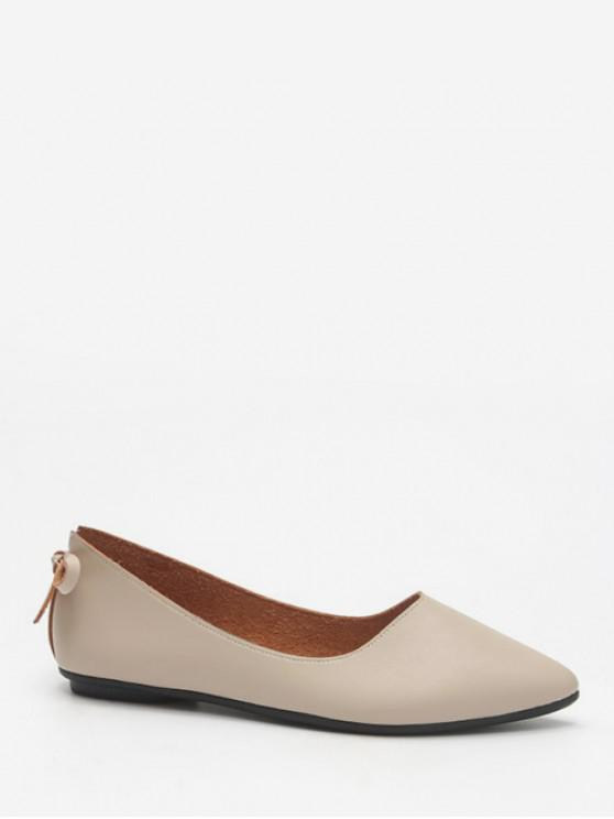 buy Back Bowknot Pointed Toe Flats - BEIGE EU 36