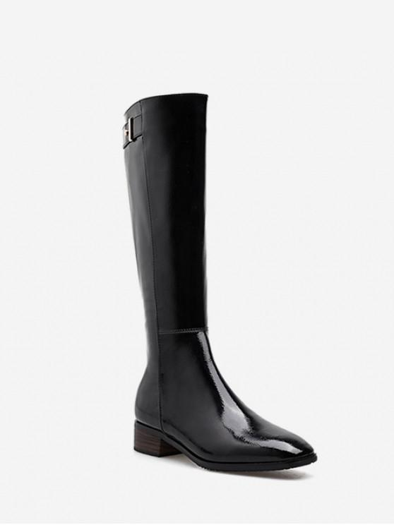 Patent Leather Square Toe Knee High Boots - أسود الاتحاد الأوروبي 37