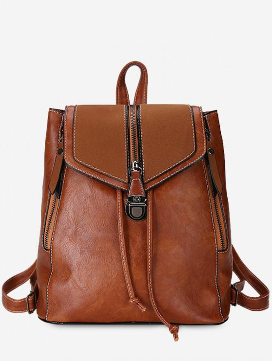 chic Solid Color PU Leather Drawstring Backpack - BROWN