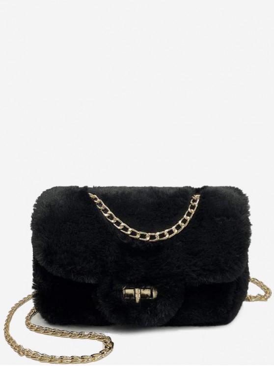 41% OFF  2019 Chain Fluffy Faux Fur Crossbody Bag In BLACK  609a86e145102