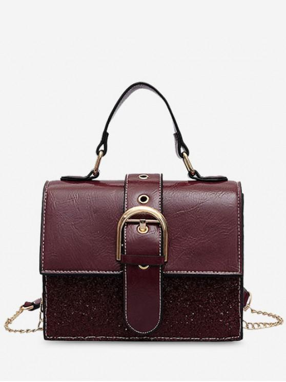 shop Sequin PU Square Crossbody Bag - RED