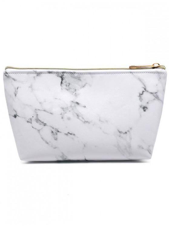 Bolso de maquillaje portátil con estampado de mármol - Blanco