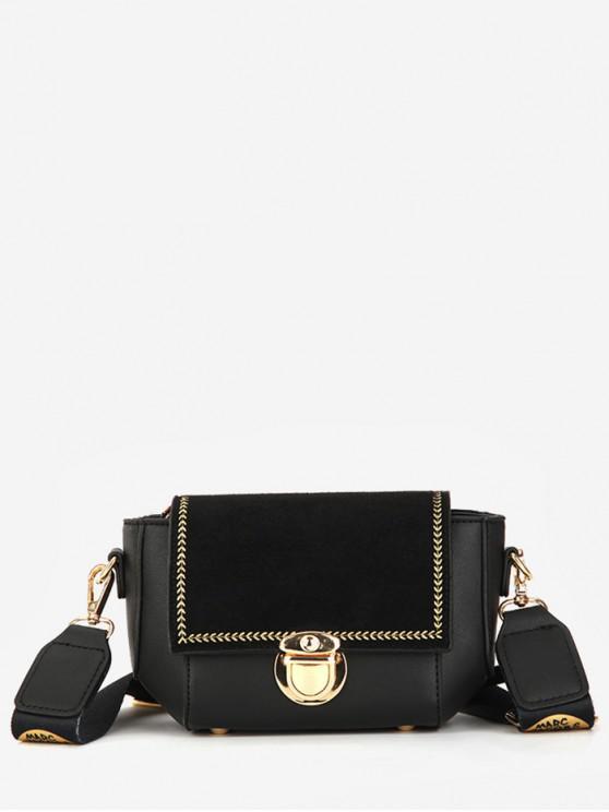 sale Print Strap Wheat Pattern Shoulder Bag - BLACK