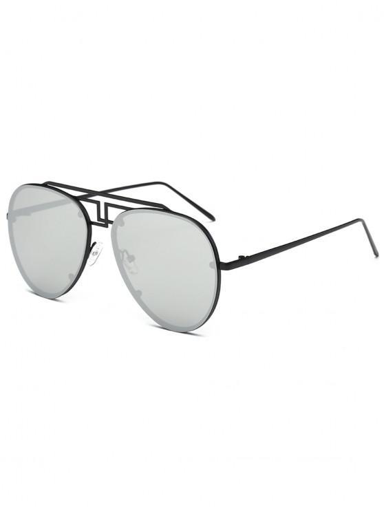 women Unisex Light Metal Frame Pilot Sunglasses - SILVER