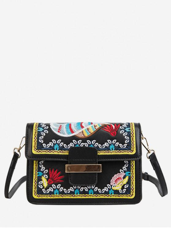 latest Ethnic Embroidery Buckle Shoulder Bag - BLACK