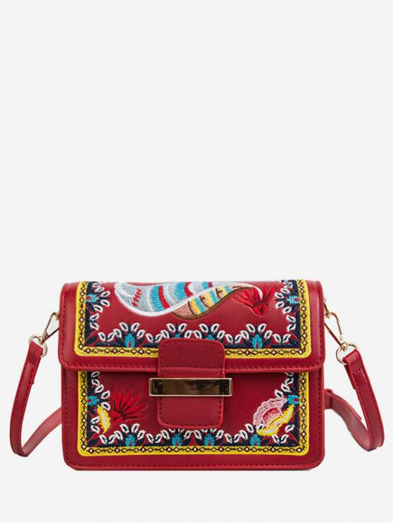 women Ethnic Embroidery Buckle Shoulder Bag - LAVA RED
