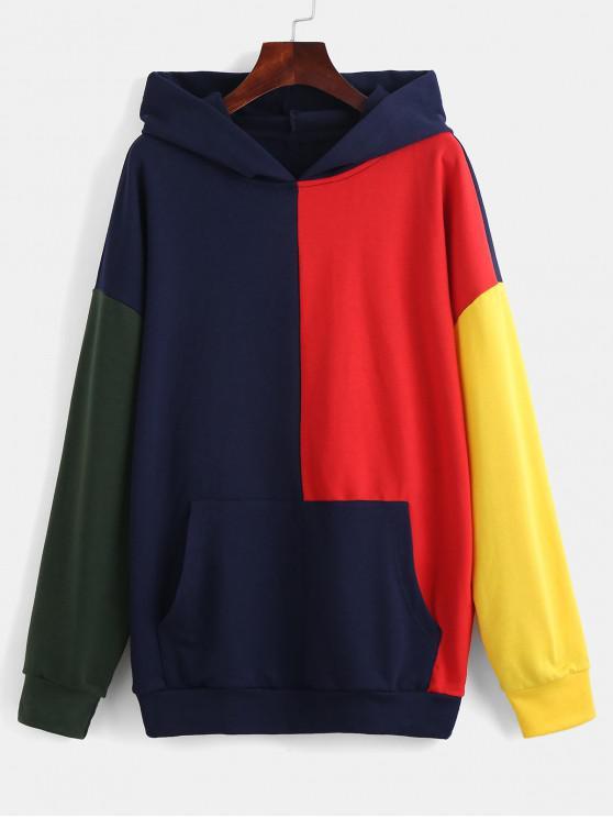shop ZAFUL Color Block Pocket Drop Shoulder Hoodie - MULTI M