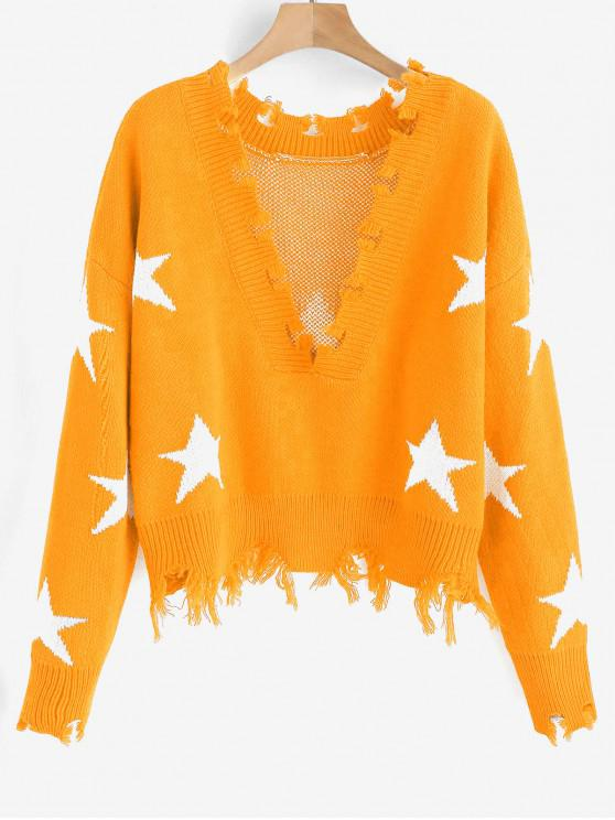 womens ZAFUL Cropped Frayed Stars Sweater - BEE YELLOW ONE SIZE