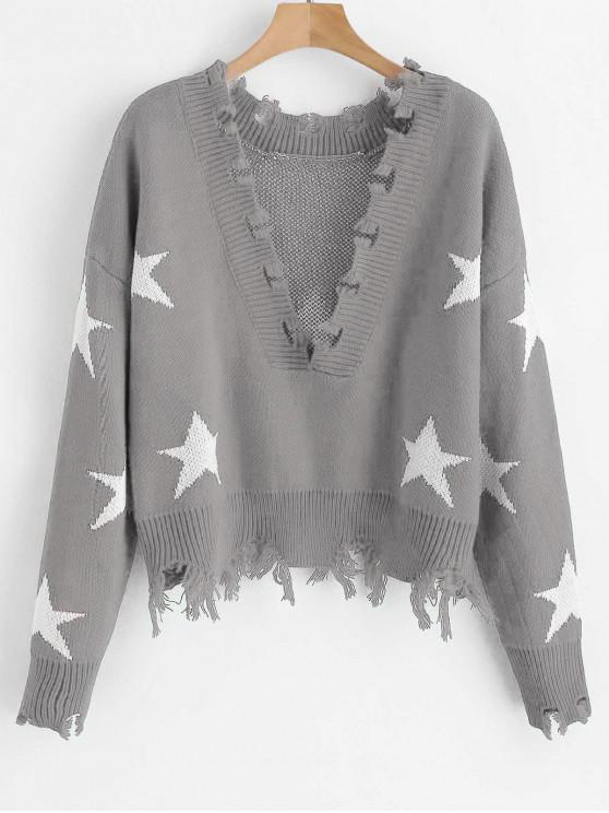 lady ZAFUL Cropped Frayed Stars Sweater - ASH GRAY ONE SIZE