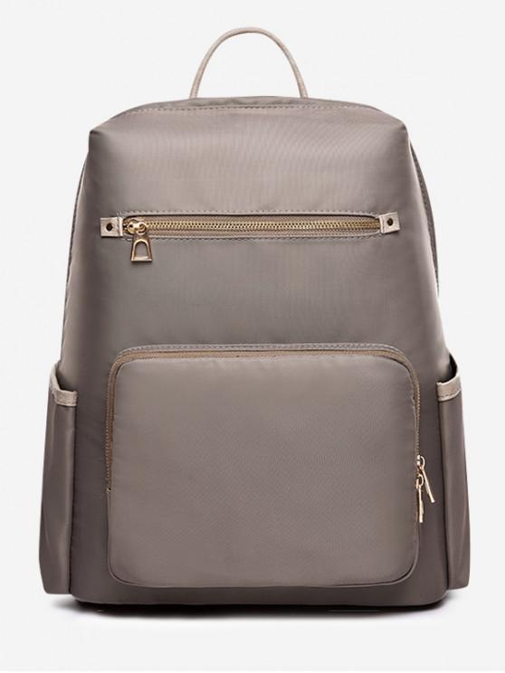 fancy Solid Color Multi Pocket Backpack - PUCE
