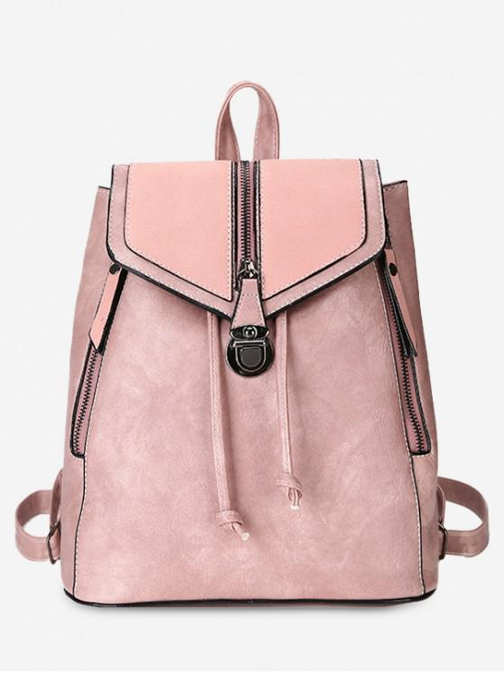 buy Solid Color PU Leather Drawstring Backpack - PINK