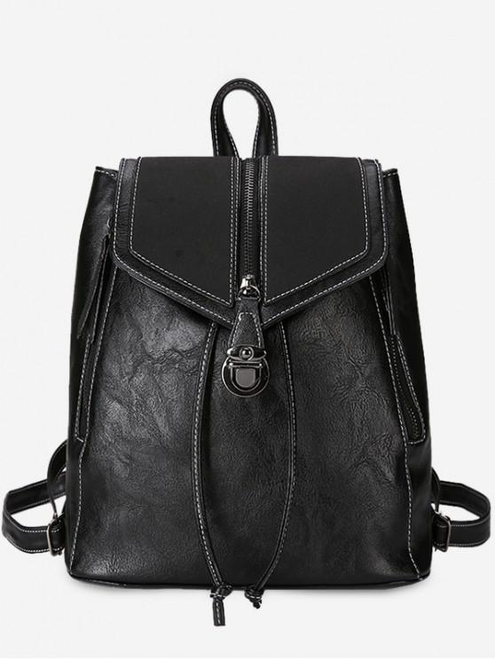 outfit Solid Color PU Leather Drawstring Backpack - BLACK