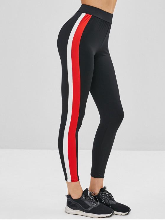 d95b0f582b26 29% OFF] 2019 Side Striped High Waist Leggings In BLACK | ZAFUL