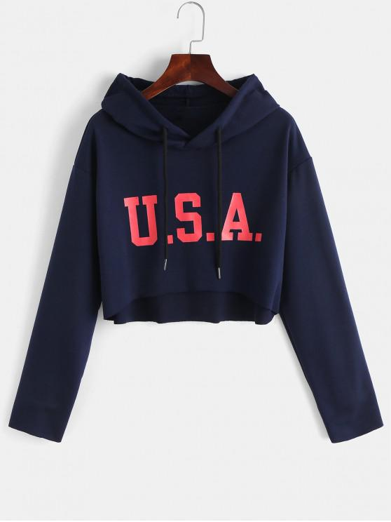 women's ZAFUL Letter Graphic Crop Raw Hem High Low Hoodie - MIDNIGHT BLUE M