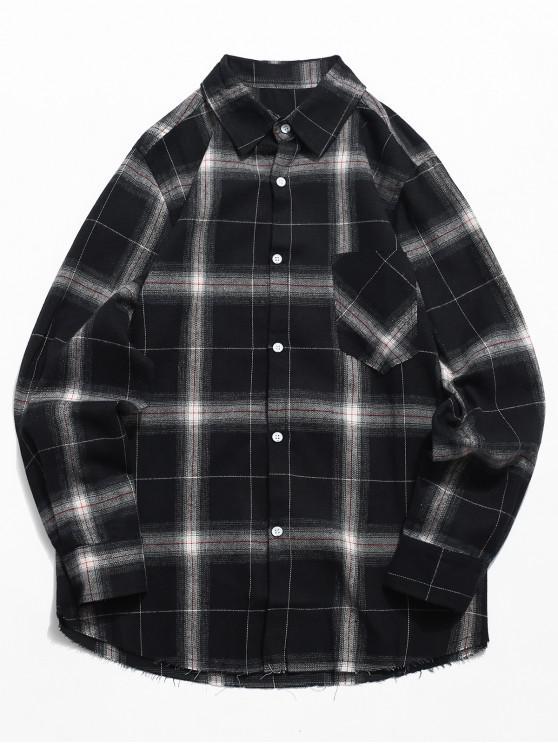 Camisa de xadrez de bolso de peito - Preto S