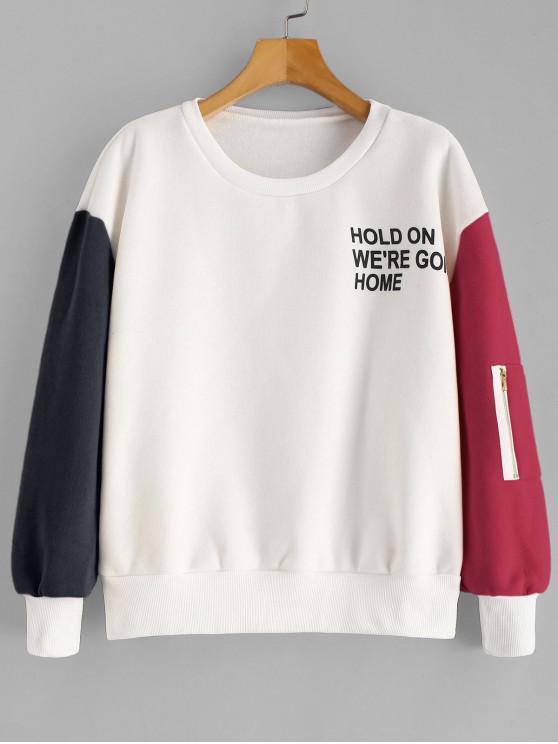 trendy Color Block Letter Graphic Fleece Lined Sweatshirt - MULTI-C M