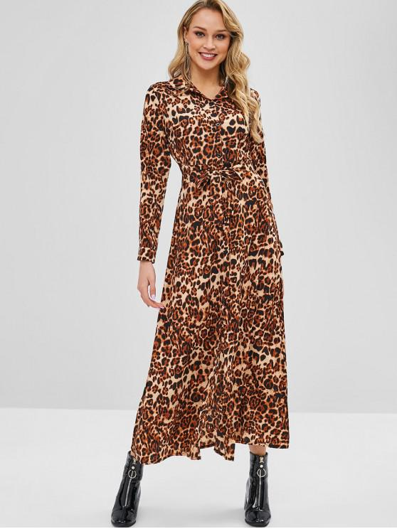 outfits Belted Long Sleeve Leopard Shirt Dress - LEOPARD S