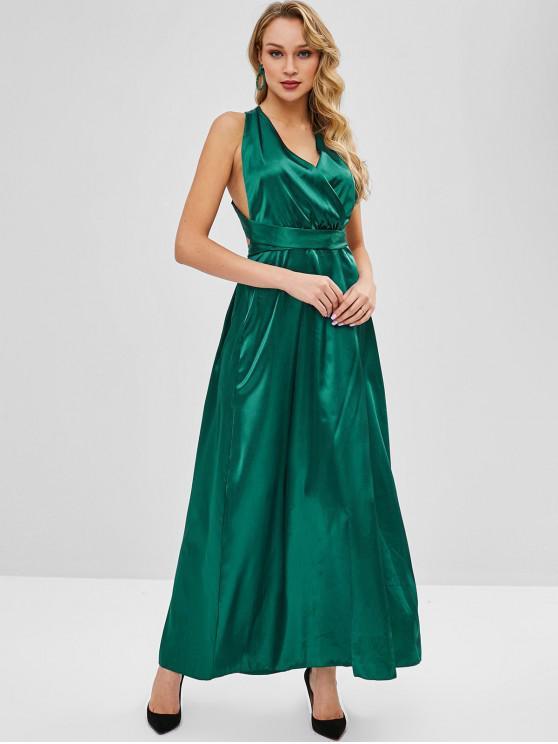Vestito Plus Size In Raso - Verde Tartaruga S