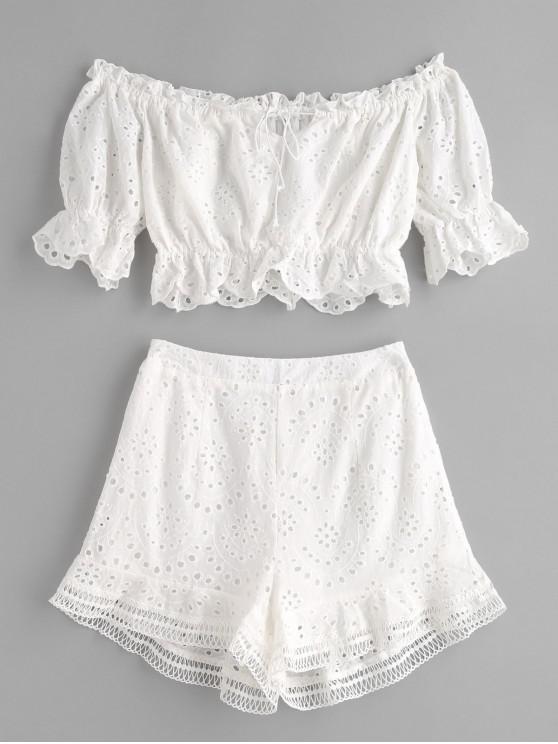 buy Off Shoulder Ruffles Eyelet Shorts Set - WHITE L