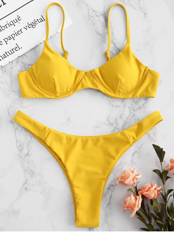 ZAFUL Underwire Cami Bikini Set - Goldgelb S